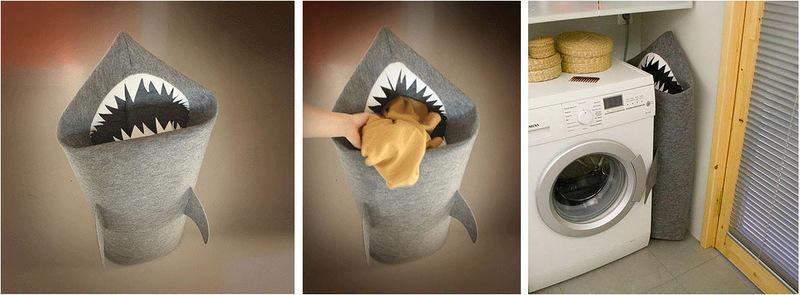 Войлочная корзина для белья (игрушек) в виде акулы