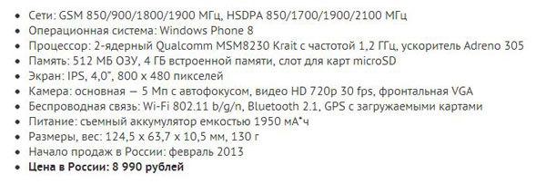 Основные технические характеристики Huawei Ascend W1