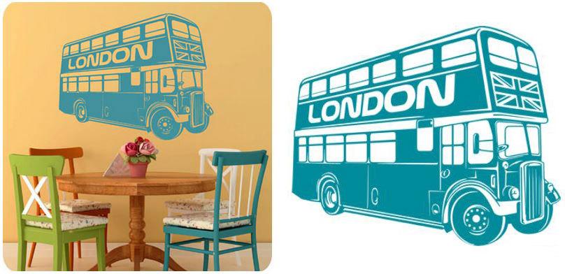 Наклейка на стену Лондонский автобус