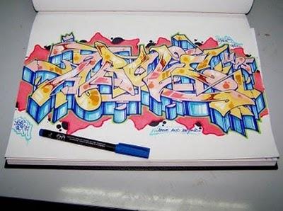 как рисовать граффити на бумаге