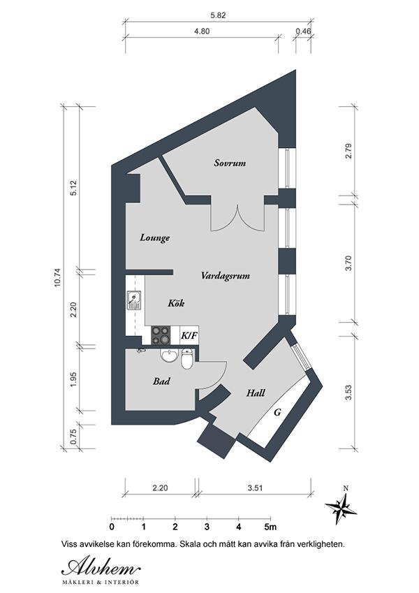план квартиры от Alvhem Mäkleri & Interiör