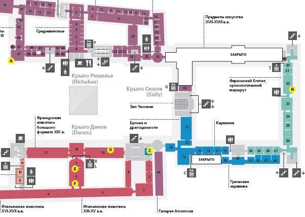 карта Лувра на русском языке