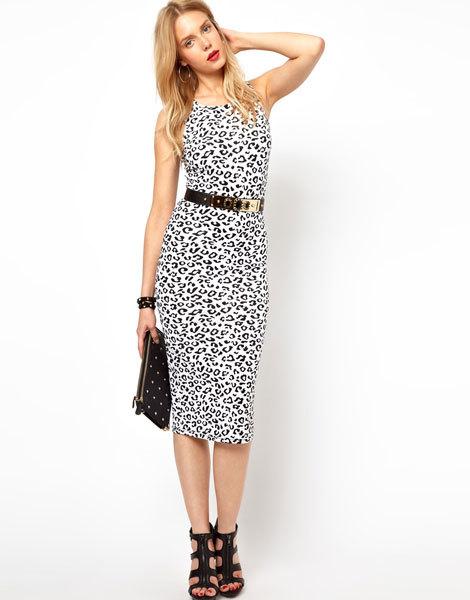 Платье миди с белым леопардовым принтом Lavish Alice