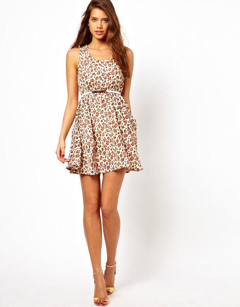 Платье с леопардовым принтом и заклепками на карманах Rare