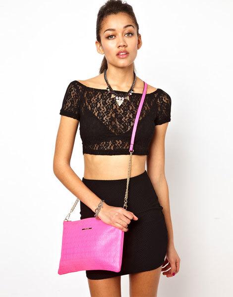 Розовая сумочка с тисненным рисунком River Island Neon RI