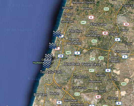 пляжи Тель-Авива спутник