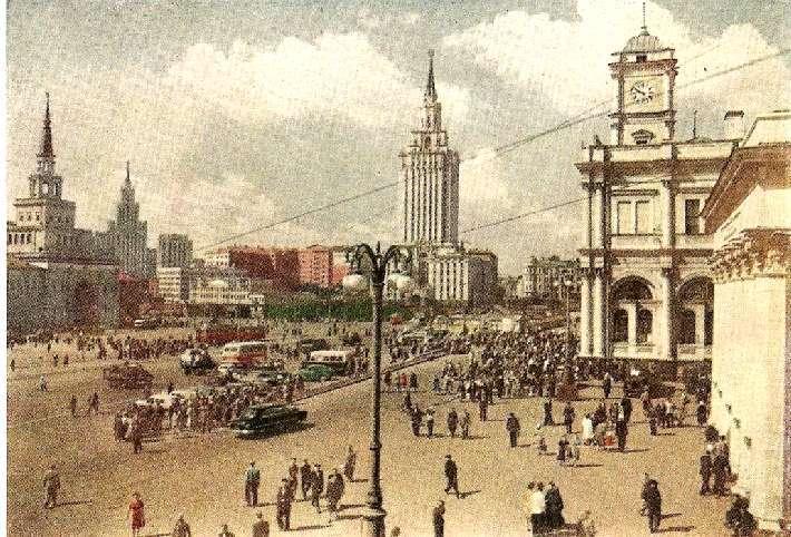 Комсомольская площадь. Фото И. Голанда. Открытка Изогиз. 1958 г.