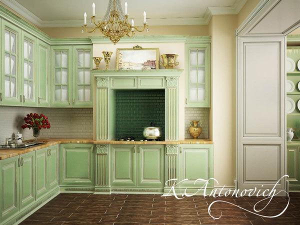 Кухня в светло-зеленых тонах