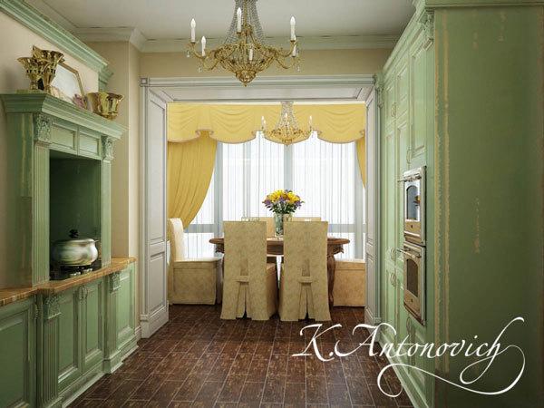 Элитный дизайн интерьера кухни. Зона кухни разделена с зоной столовой