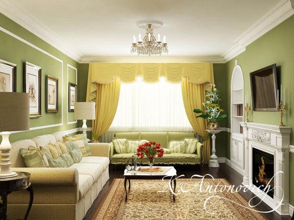 Гостиная в классическом стиле.