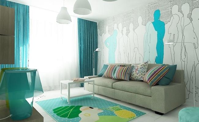 дизайн интерьера для однокомнатной квартиры фото (2)