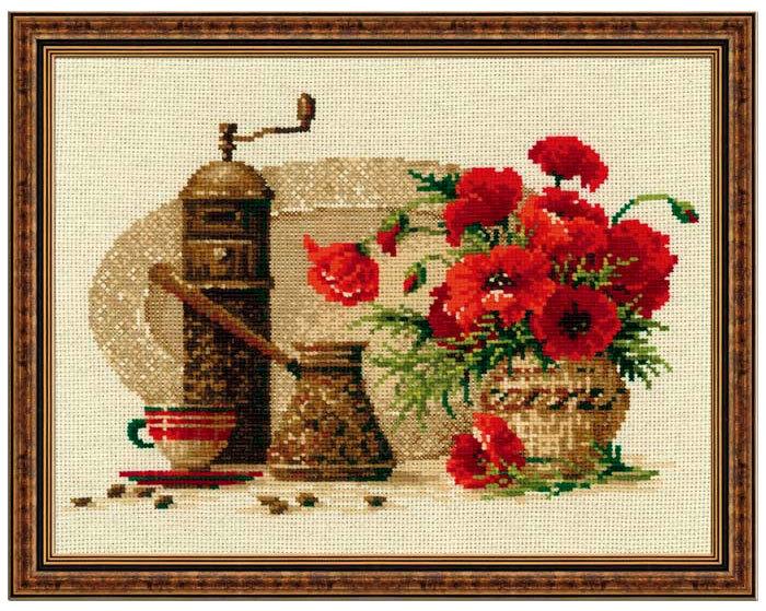 Набор для вышивания кофе и маки
