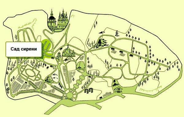 Пан схема ботанического сада в Киеве