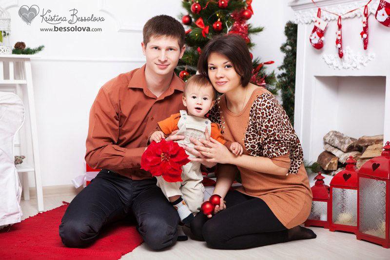 семейная новогодняя фотография