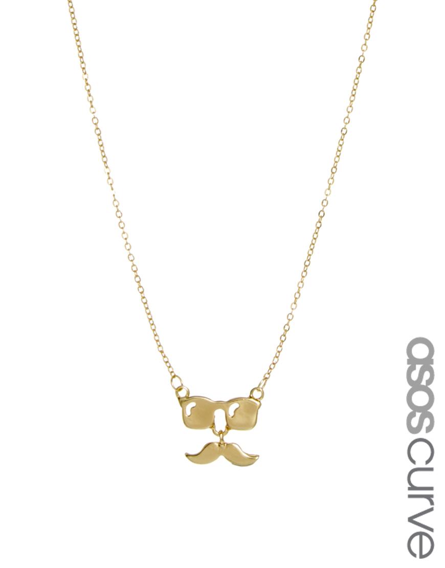 Ожерелье с подвеской в виде очков и усов