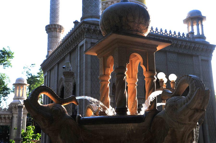 Слоны и фонтан