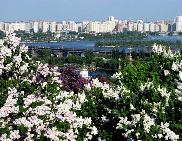 вид на Киев из ботанического сада