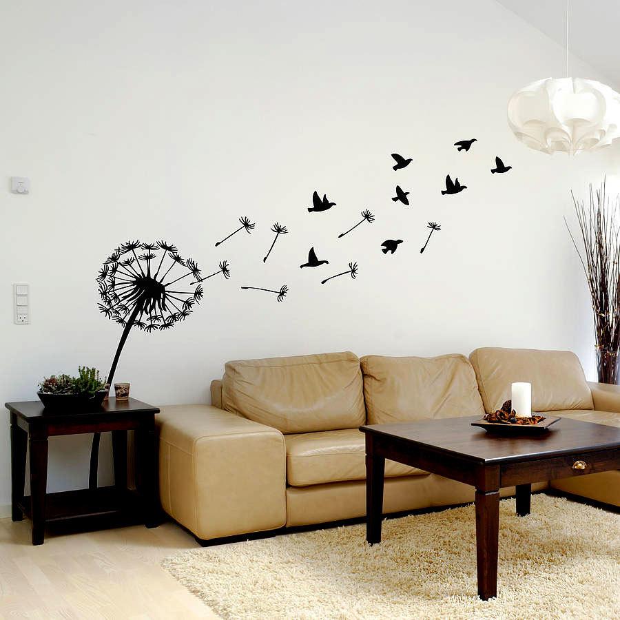 Декор стены одуванчиками