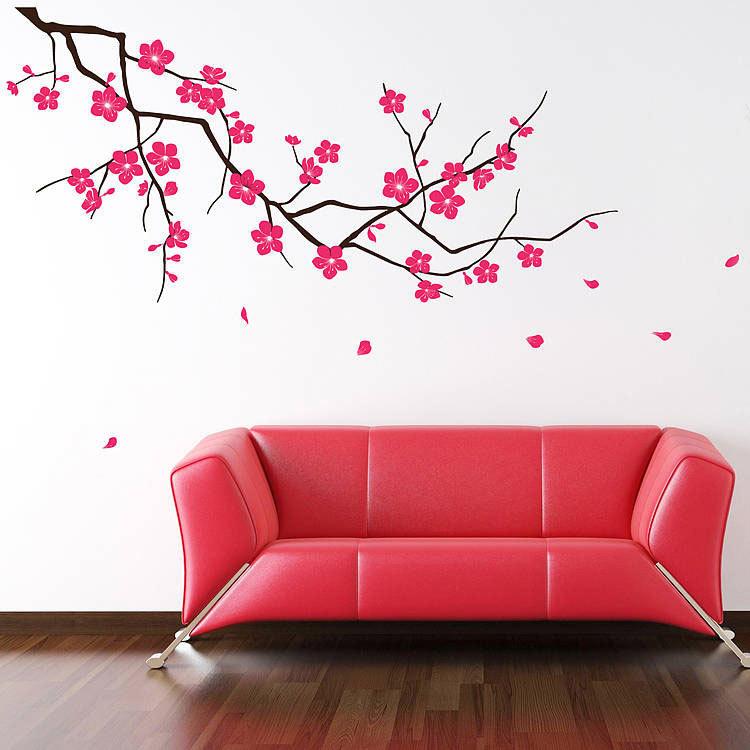 интерьерные наклейки на стены из винила сакура