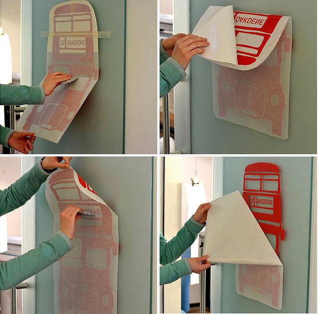 как клеить виниловые наклейки на стены