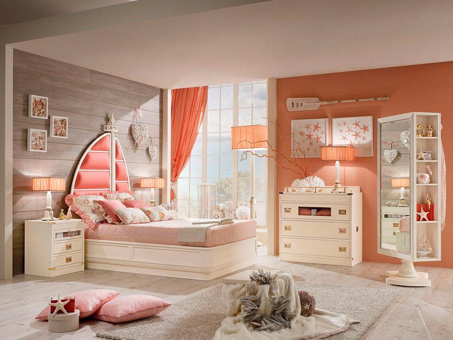 очень красивая спальня для девочки в коралловом цвете