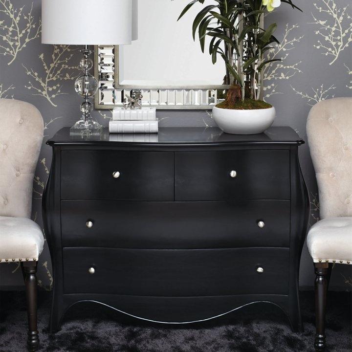 современный комод черного цвета для гостиной
