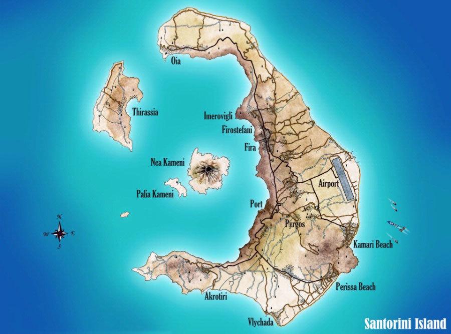 Санторини карта на английском