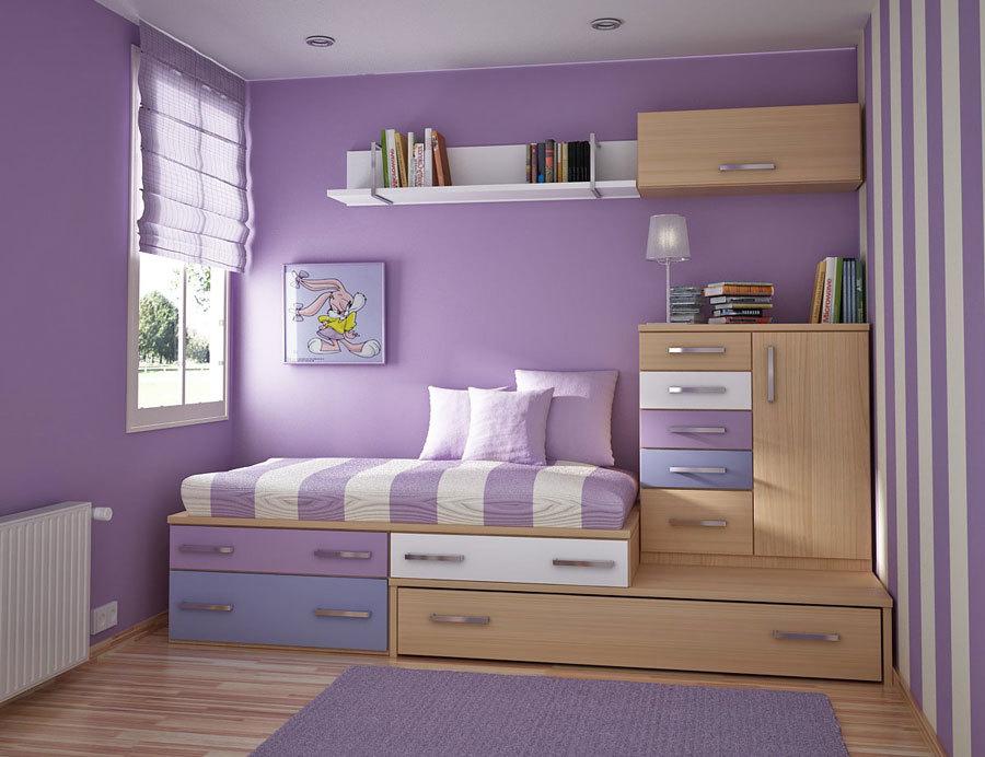 мебель в сиреневых тонах для комнаты девочки