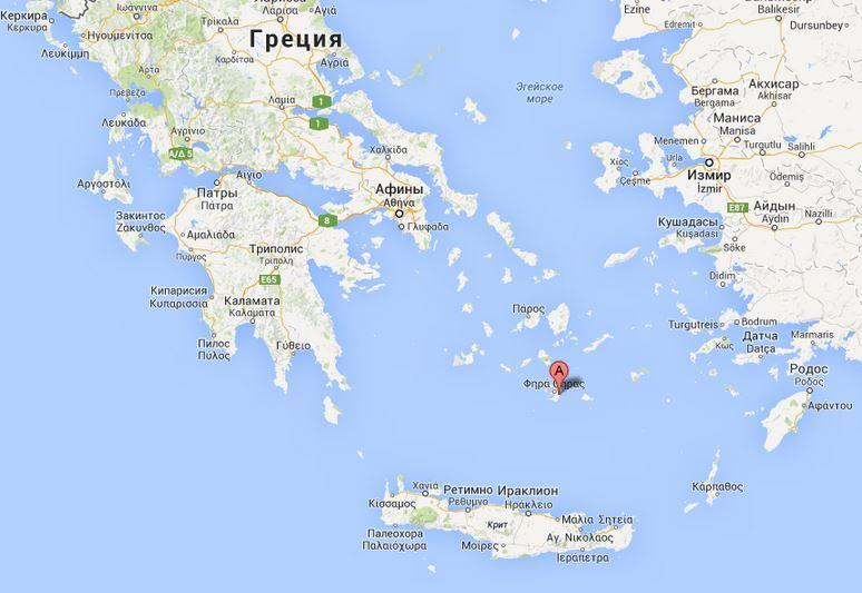 остров Санторини на карте Греции