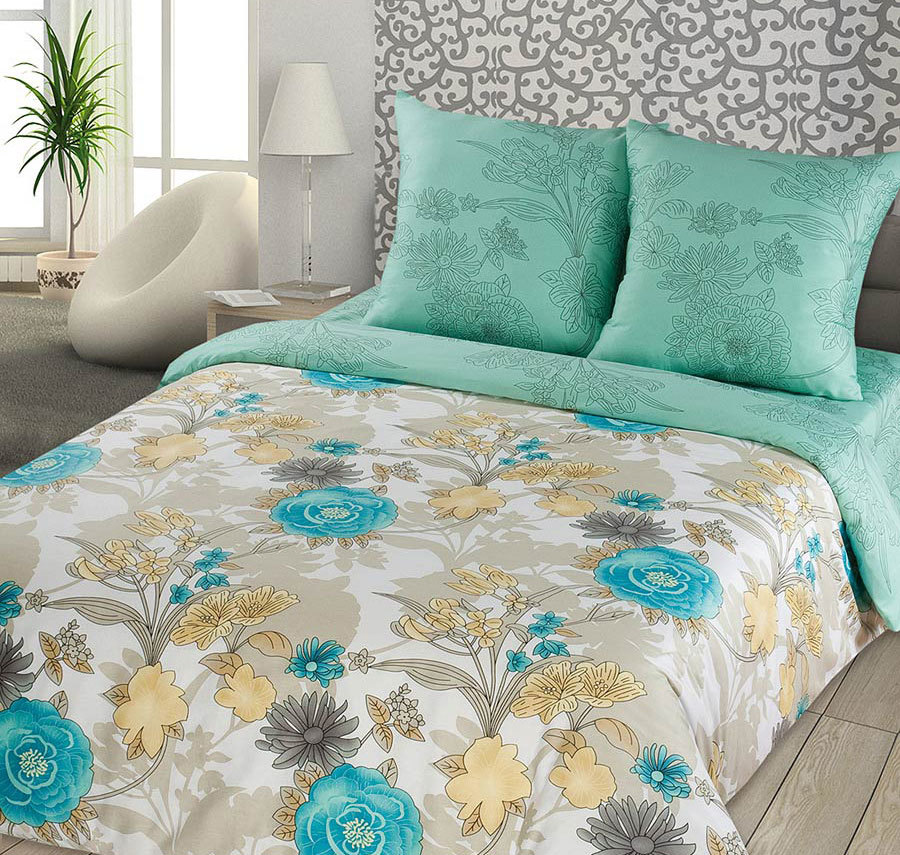 постельное белье как элемент спальни. Фисташковый цвет.