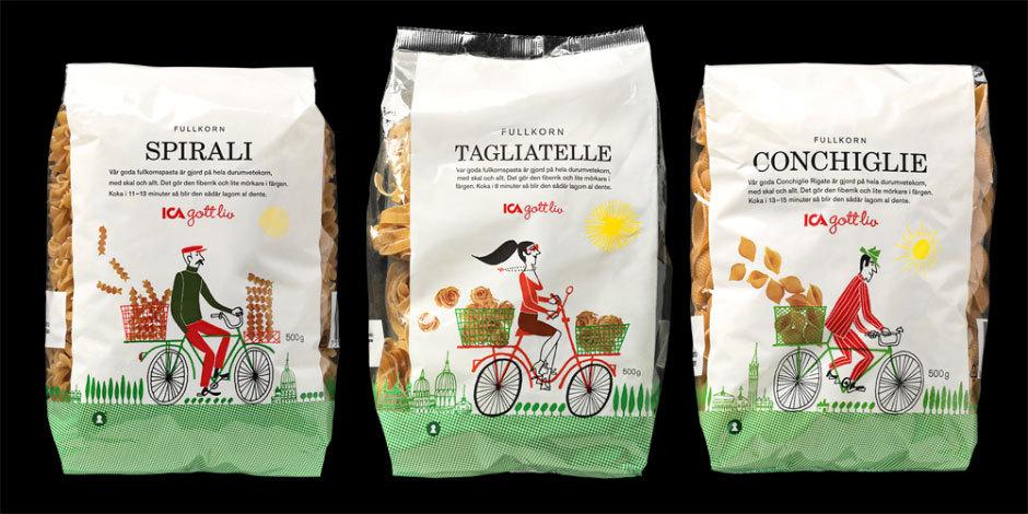 Дизайн упаковки спагетти и макаронных изделий от Klas Fahlen