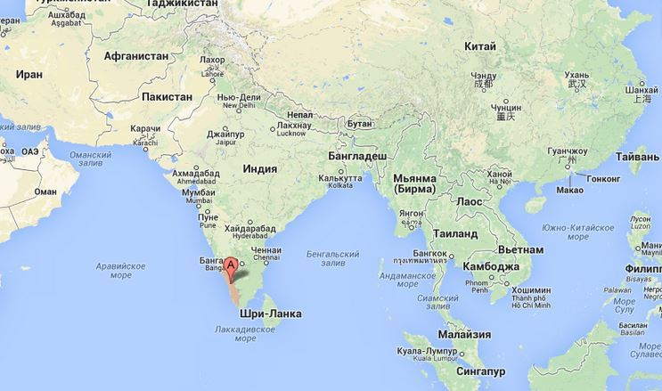 Керала на карте мира.