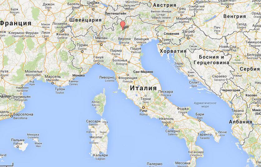 Курорт Мадонна-ди-Кампильо на карте Италии.