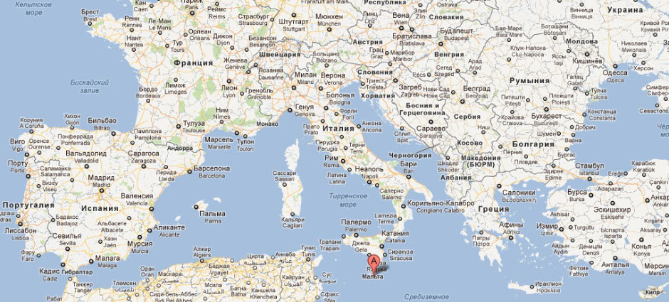 Мальта на карте Европы.