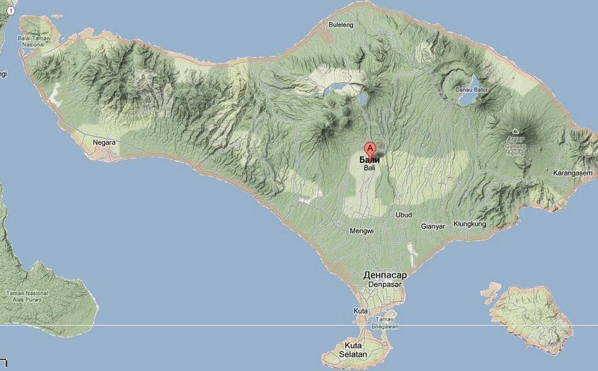 Остров Бали, вид сверху, карта.