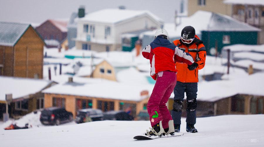 Сноубординг в Крымских горах.