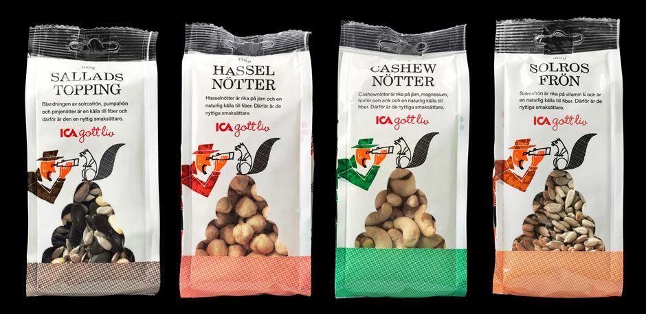 дизайн упаковки орехов и семечек