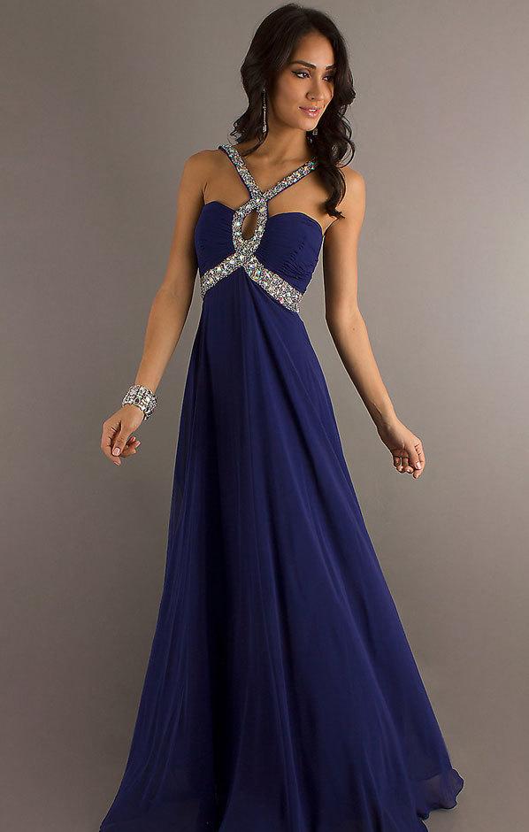 синее длинное платье на выпускной 2014 (3)