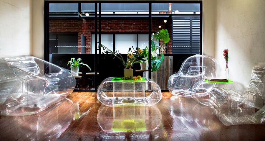 прозрачная надувная мебель