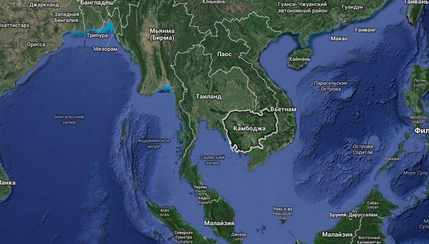 Камбожда на карте мира