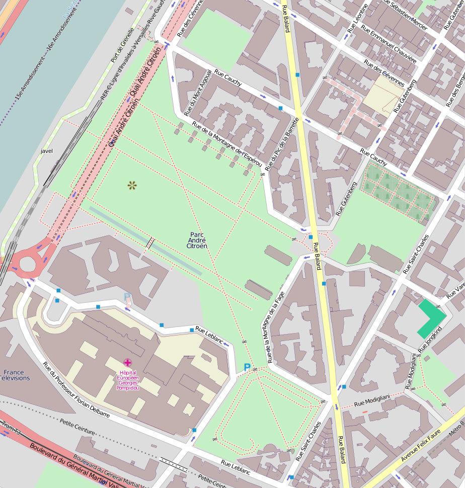 Карта парка  Андре Ситроена.