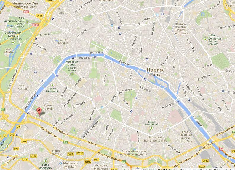 Парк Ситроена на карте Парижа.
