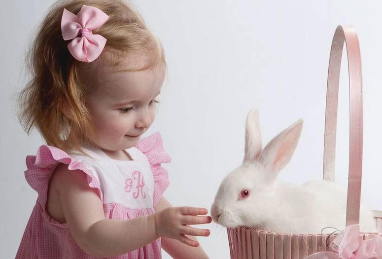 девочка и живой кролик
