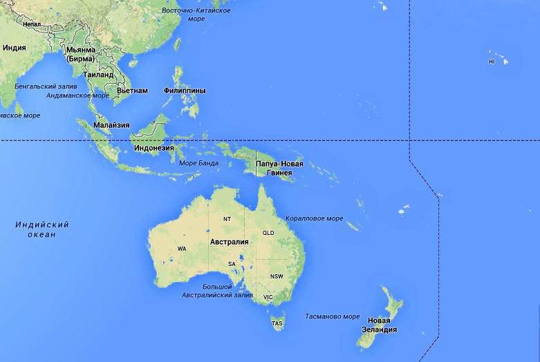 Австралия на карте мира.