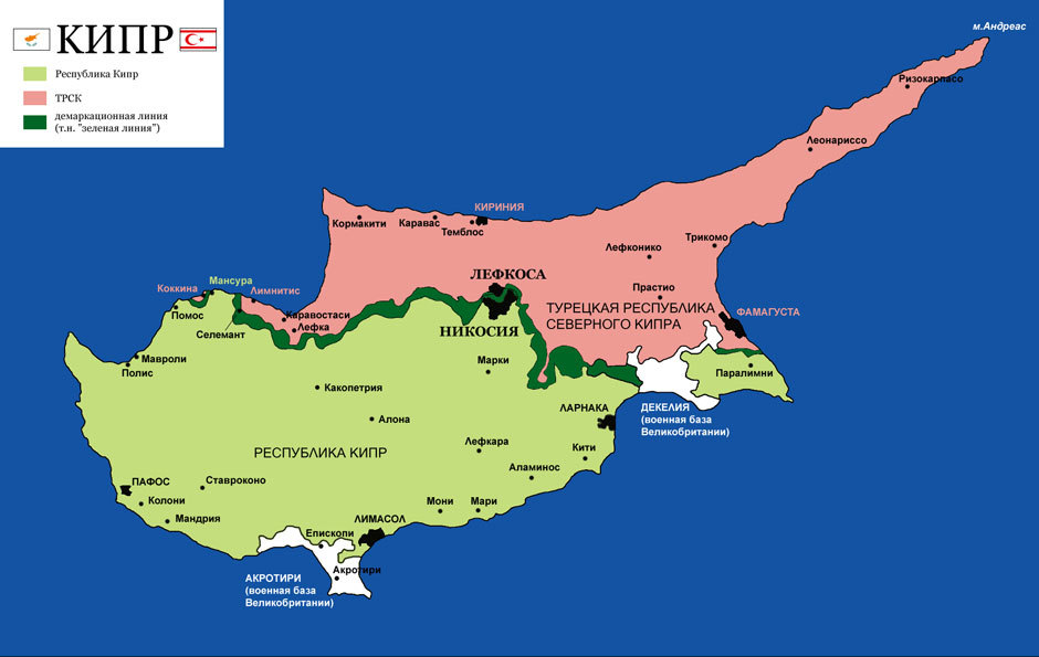 политическая карта Кипра