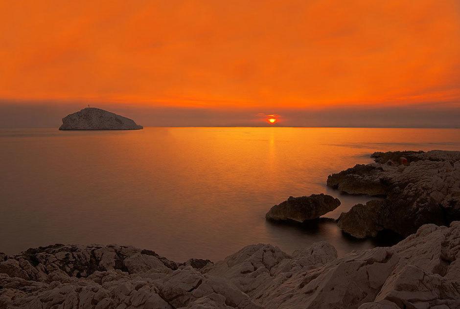 закат на средиземном море, юг Франции
