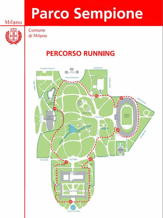 Беговая дорожка в Парке Семпионе Милан