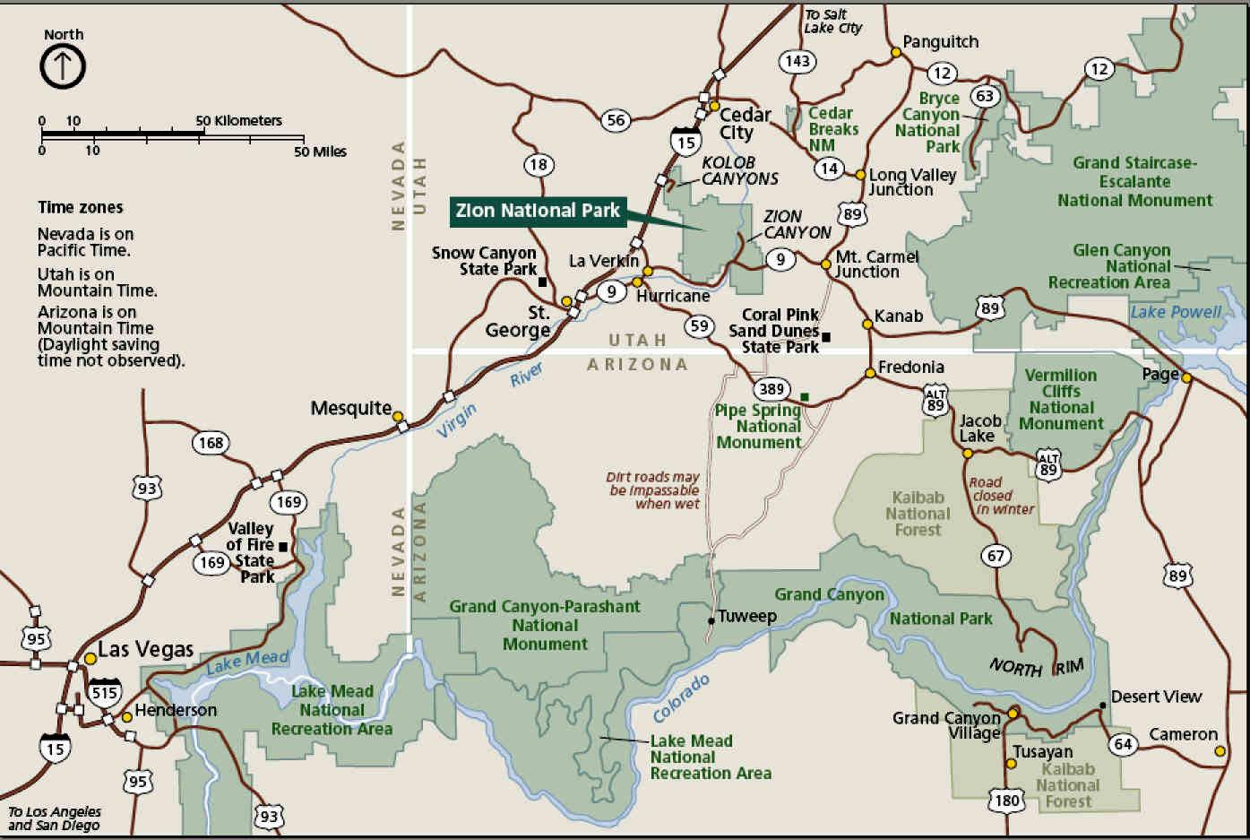 Национальный парк Зайон на карте штата Юта