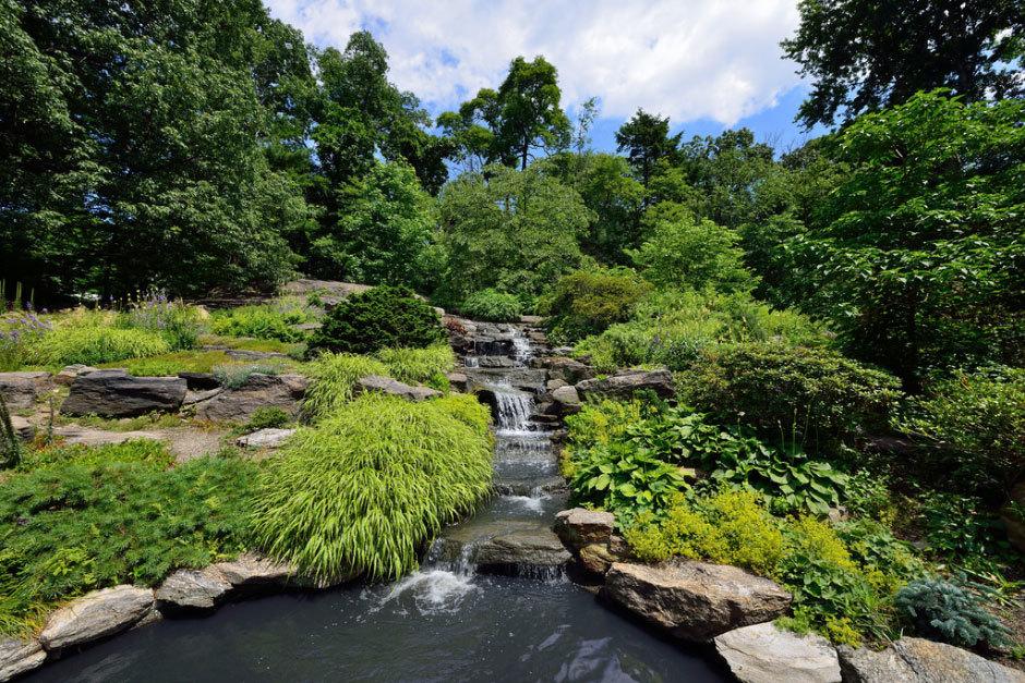 водопад в альпийском саду камней