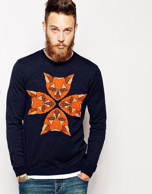 Мужской свитер с лисами ASOS